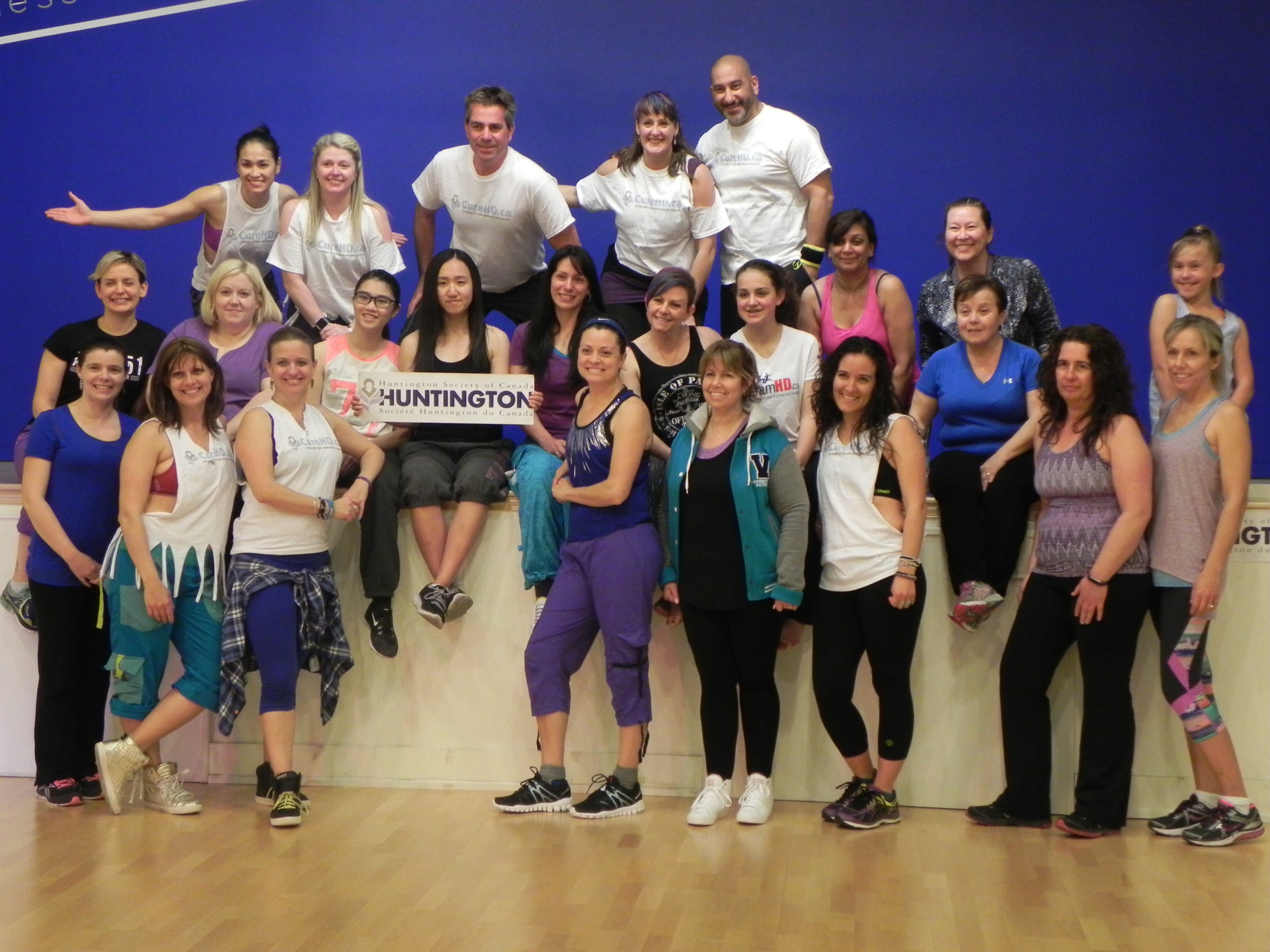 Group posing for a picture at the Newmarket, Ontario Zumbathon