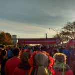 A group of people waiting at the starting line of the Toronto Scotiabank Waterfront Marathon