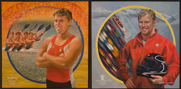 Kayak spring Brady Reardon, left, and bobsledder Jesse Lumsden - both McMaster alumni - are two of the five area athletes whose portraits will hang in the Ron Joyce Centre.