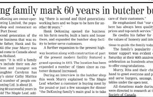 DeKoning family mark 60 years in butcher business