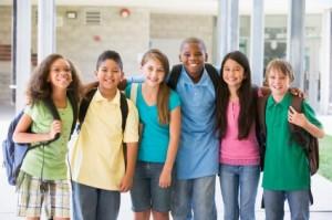 Elementary school class standing outside